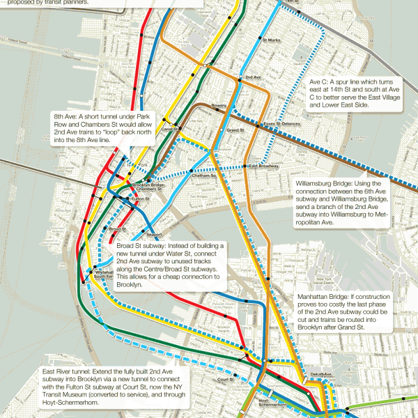 2nd Ave subway alternatives in lower Manhattan.
