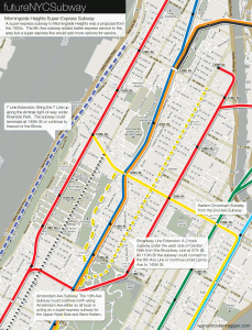 Proposals for a super-express subway to Morningside Heights.