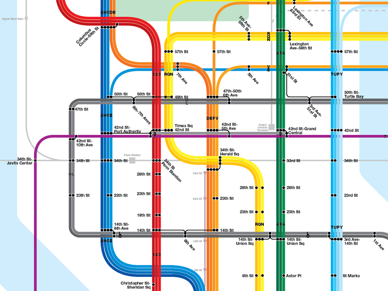 Subway diagram showing 10th Ave Subway, 7 Line to Hoboken, Bushwick Trunk Line, and Second Ave Subway systems.