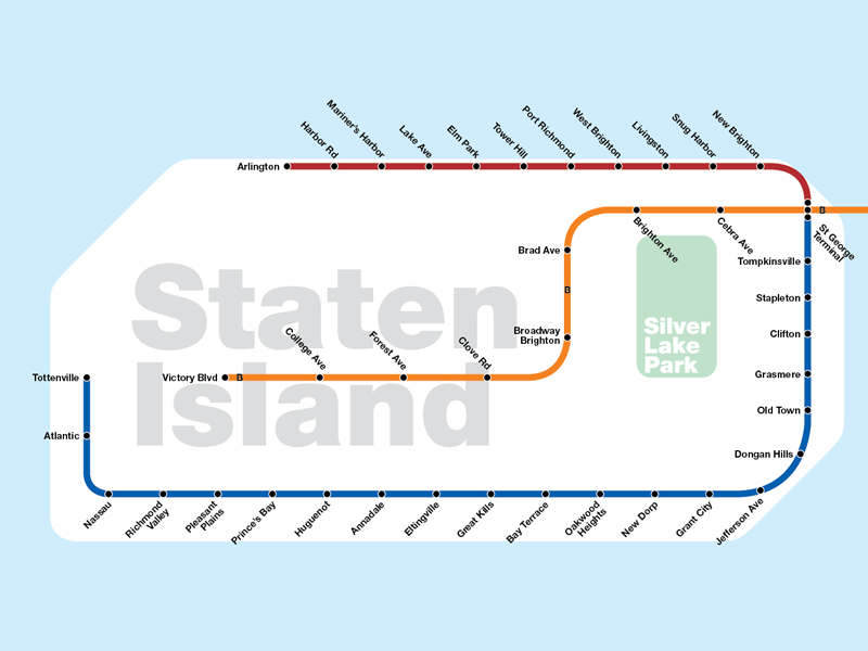 Subway diagram showing Staten Island subways.