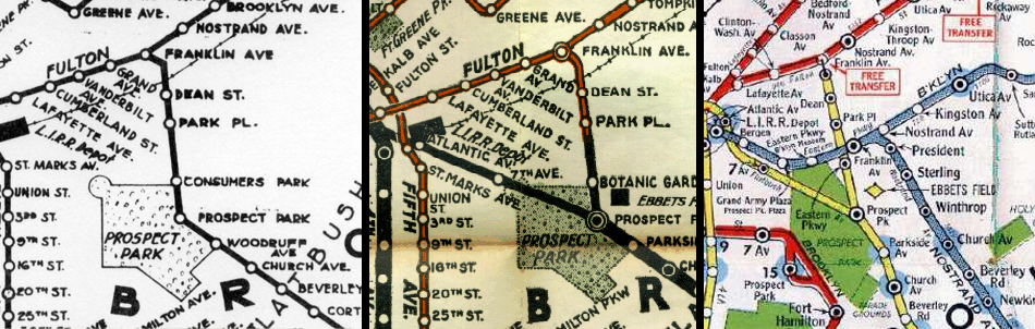 Franklin Ave Line in 1920 (elevated) , 1924 (elevated and subway), and 1951 (subway only).