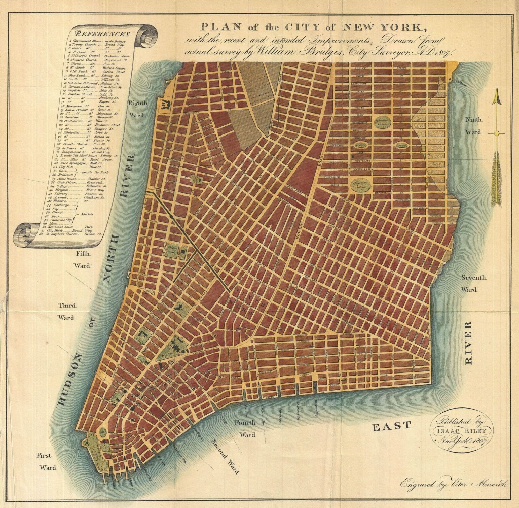 1807 Bridges Map of New York City (1871 reissue)