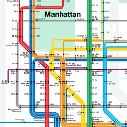 Midtown Manhattan showing 10th Ave Subway with 86th St Crosstown Route.