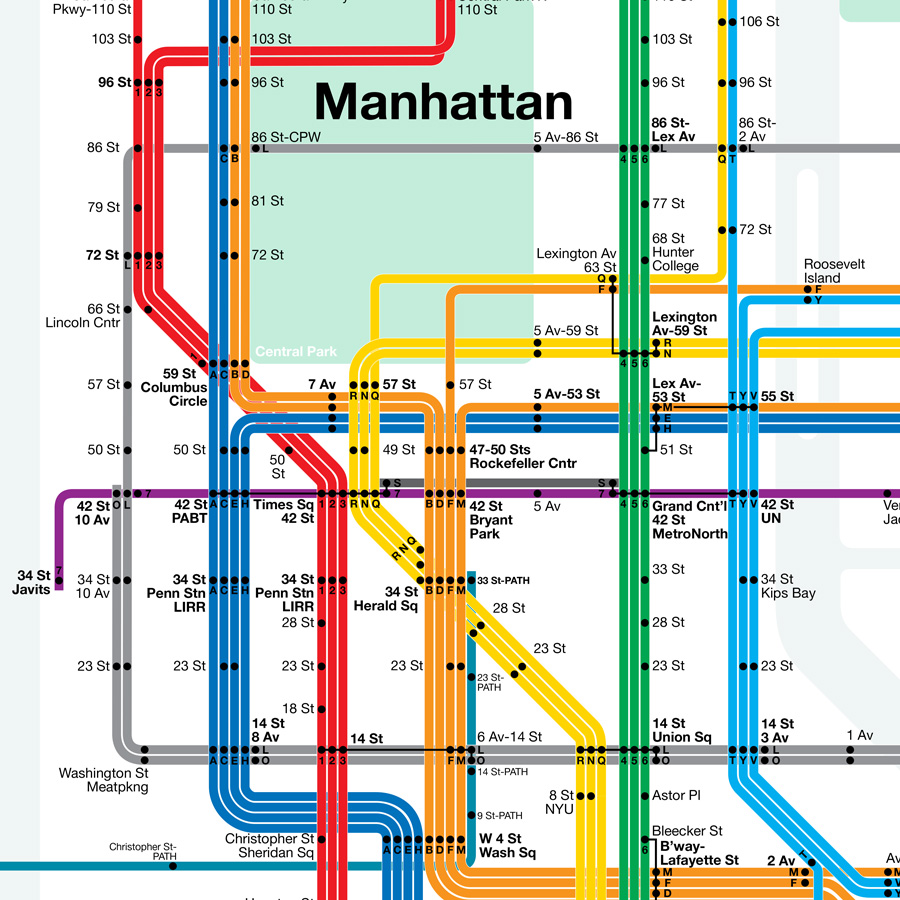 FutureNYCSubway V Vanshnookenraggen - New york subway map with streets