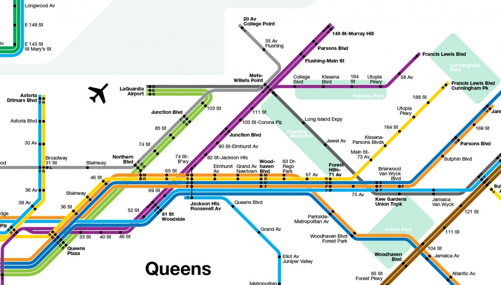 Queens Expansion showing Northern Blvd Trunk Line to LaGuardia Airport and IRT Flushing Line Exentions