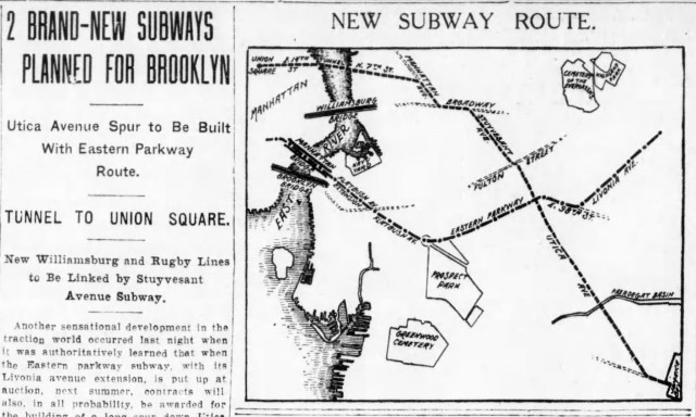 """2 Brand-New Subways Planned for Brooklyn"" Showing routes of the build Eastern Parkway Line and the unbuilt Utica Ave line."
