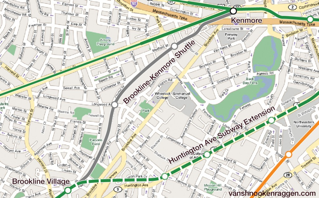 Riverside Branch to Huntington Ave Connection and Brookline-Kenmore Shuttle