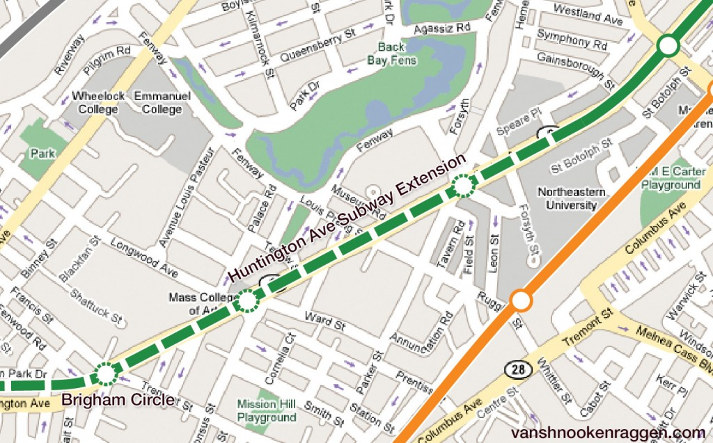 Huntington Ave Subway Extension to Brigham Circle