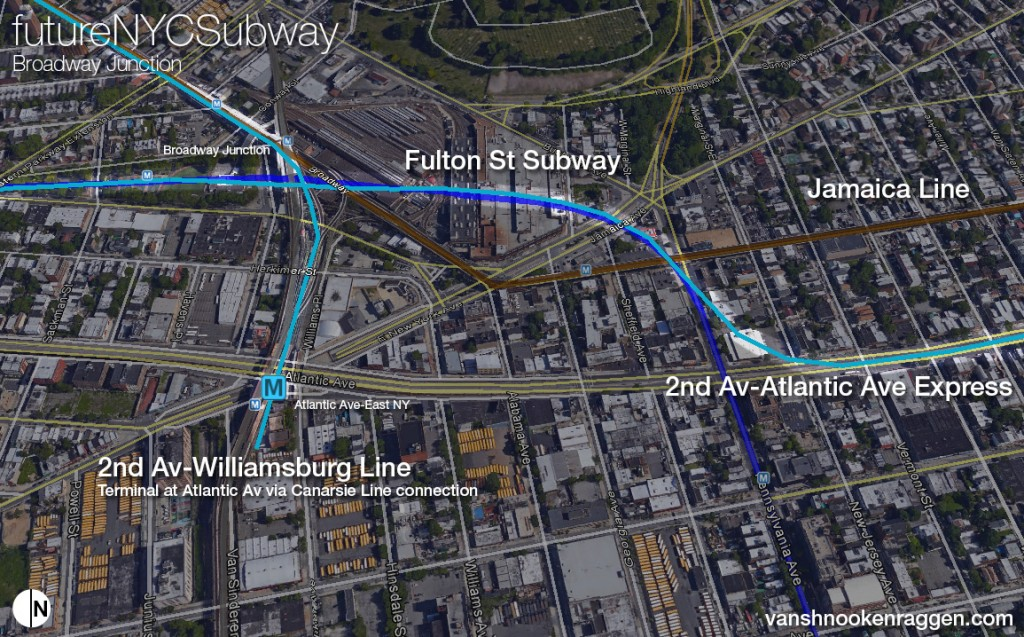 2nd Ave Subway Lines around Broadway Junction showing new connection to Atlantic Ave Branch and East NY terminal.