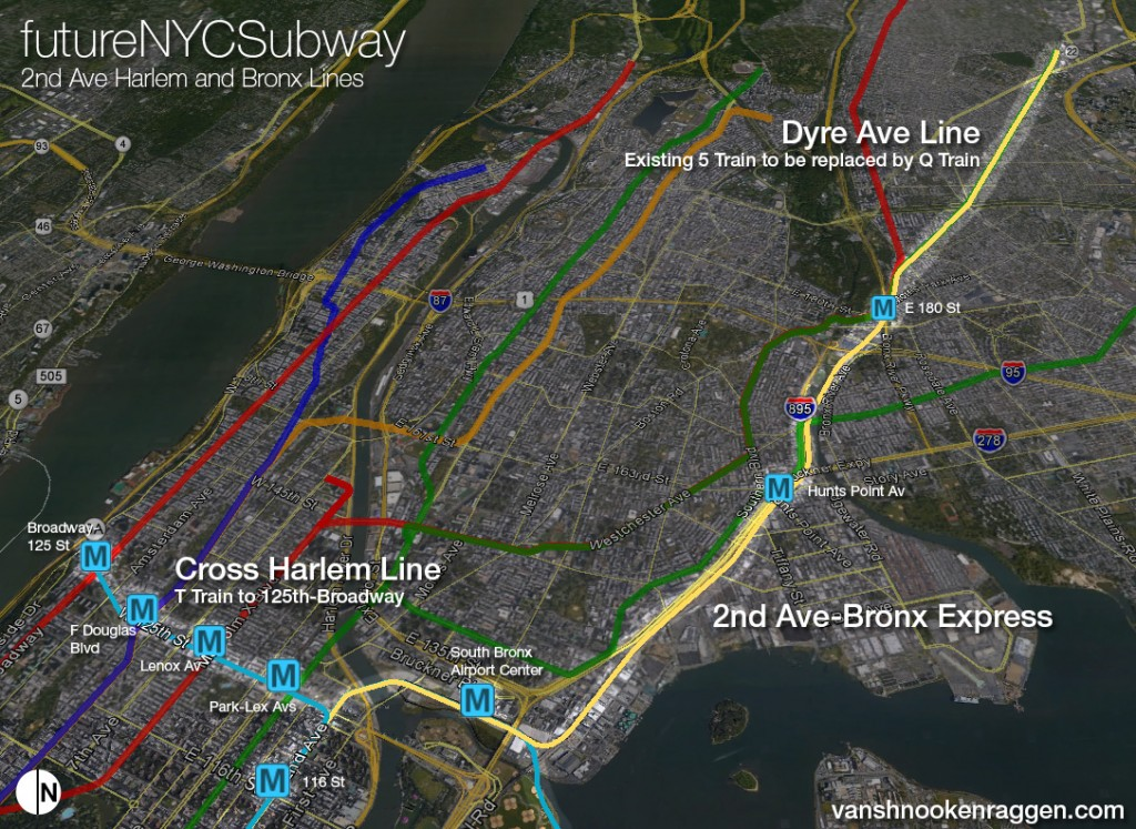 2nd Ave Subway Lines to Dyre Ave and Cross Harlem
