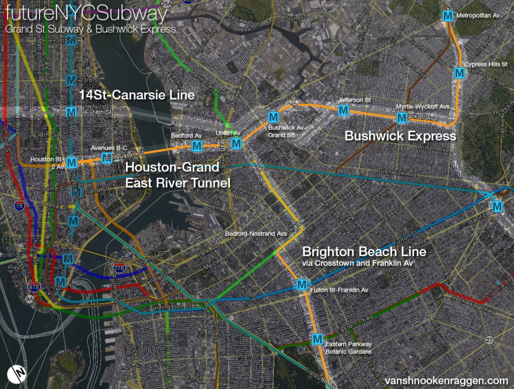 Grand St Subway with Bushwick Express and Brighton Beach via Crosstown and Franklin Av Lines