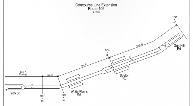 Track Map for proposed IND Concourse Line extension, predating Coop City.