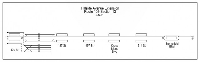 Track Map for proposed IND Hillside Ave Subway extension.