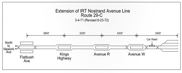 Track Map for proposed IRT Nostrand Ave Subway extension.