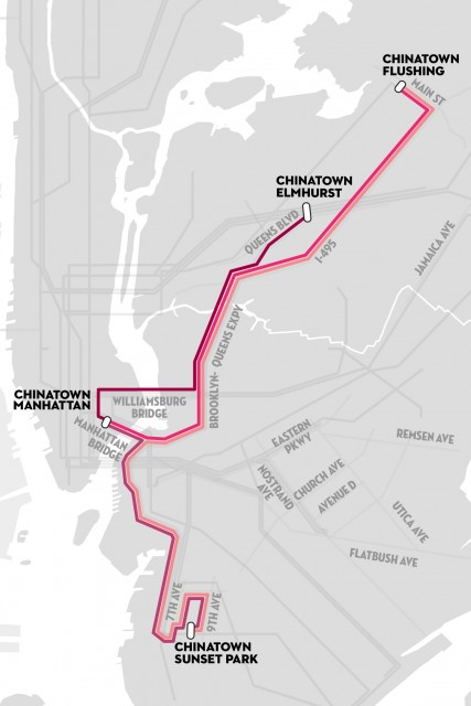 Chinatown connecting van routes.  Map via the New Yorker