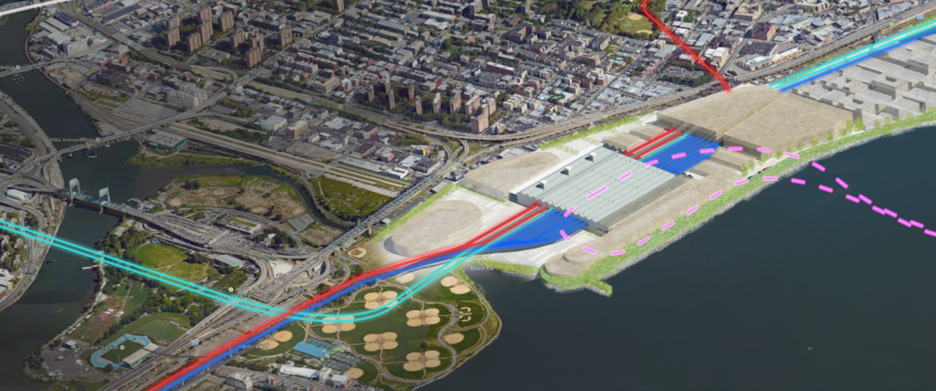 ReThinkNYC proposal for a Port Morris-LaGuardia terminal.  futureNYCSubway proposal would use the vacant land to the west instead.