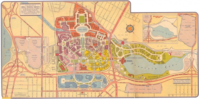 Map showing the World's Fair of 1939.  The IND shuttle comes in from the right and terminates south of Horace Harding Blvd.