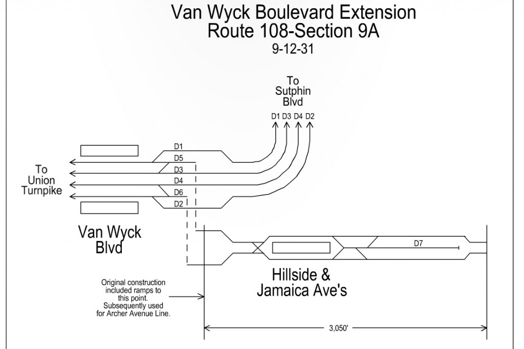 Track map showing the proposed Van Wyck subway which was eventually incorporated into the Archer Ave subway.