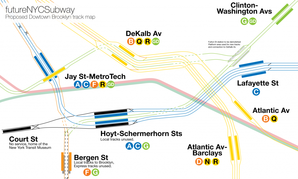 Proposed new track map of downtown Brooklyn showing DeKalb-Crosstown Line connection.
