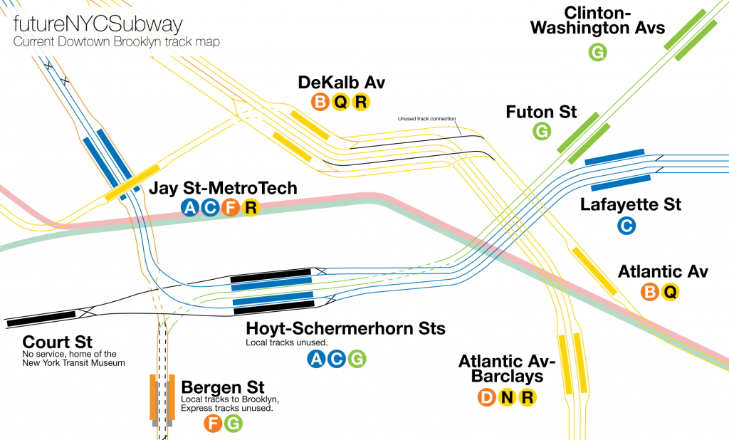 Track map of downtown Brooklyn showing BMT and IND lines.