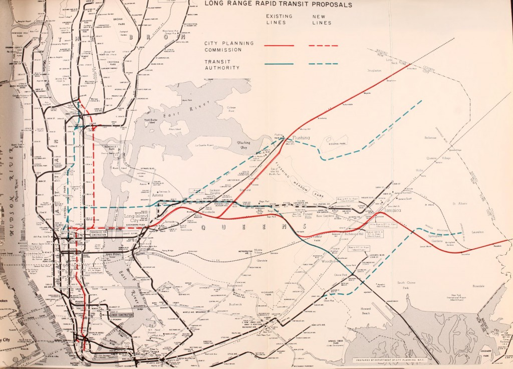 Better Rapid Transit for New York, 9163 showing the last time a subway under Northern Blvd was proposed.