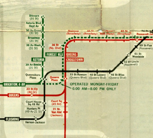 Detail of 1959 system map showing the new connection between the BMT Broadway-60th St tunnel and the IND Queens Blvd Subway.
