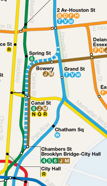 Map detail showing 2nd Ave Subway Phase 4 via Park Row and Nassau St or via Centre St (dashed).