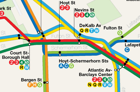 Map detail showing 2nd Ave-Broadway train pairing through DeKalb station.  Train pairing allows for maximum rerouteing flexibility.