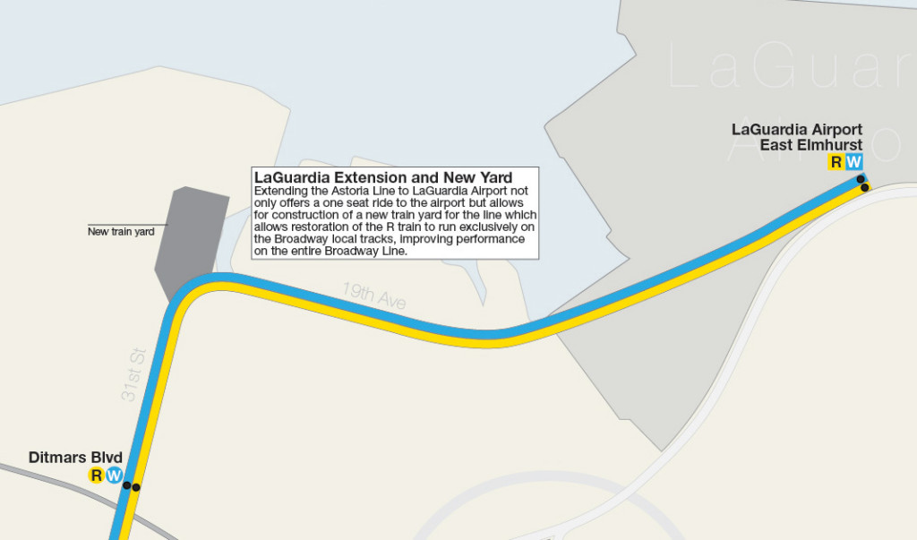Map detail showing Astoria Line extension to LaGuardia Airport with new train yard allowing R trains to run exclusively on the Broadway local tracks.