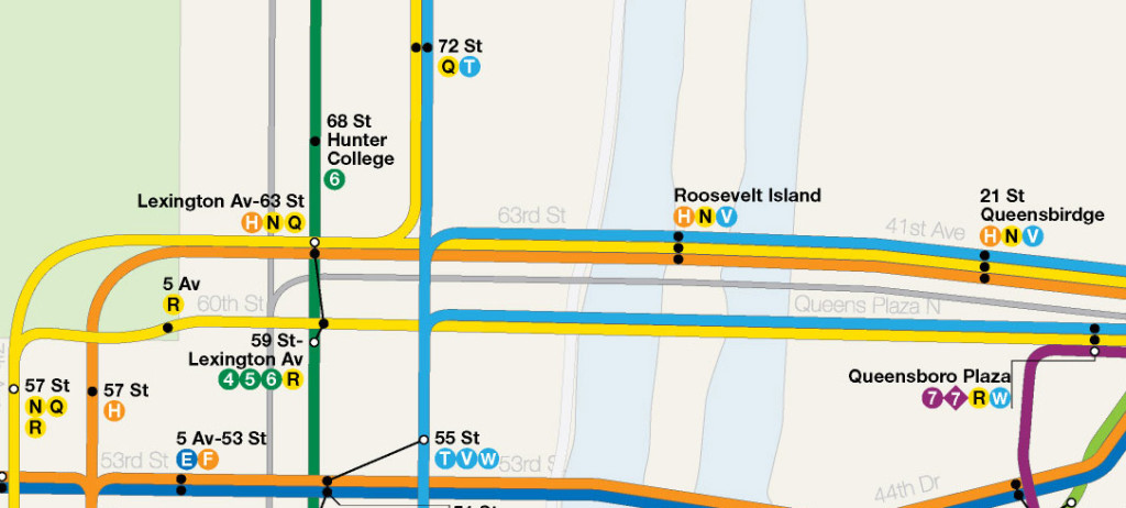 Map detail showing 2nd Ave-Broadway Line train pairing in midtown offering Queens riders east or west side trains from a single station.
