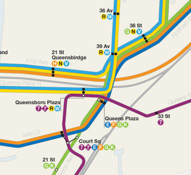 Map detail of Queens Plaza area showing additional Crosstown service via Franklin Ave running express to 179th St.