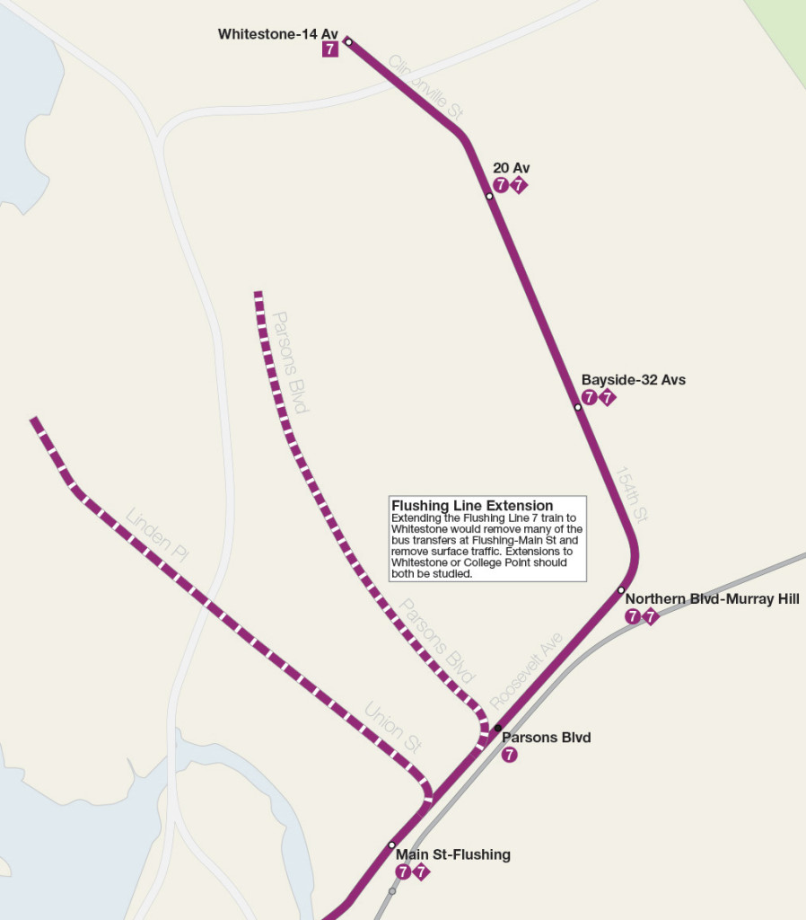 Map detail showing extension alternatives for the IRT Flushing Line to Whitestone or College Point.