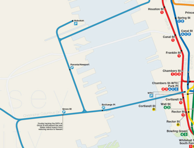 Map detail showing Staten Island PATH branch connecting to existing PATH network.