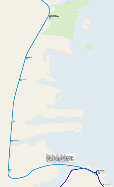 Map detail showing new Staten Island PATH branch running to Staten Island via the recaptured Hudson-Bergen Light Rail line.