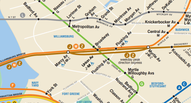 MTA Subway Map with new Union Ave station complex.