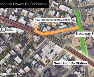 New underground mezzanine connecting Broadway to Hewes St station or a new Union Ave station.