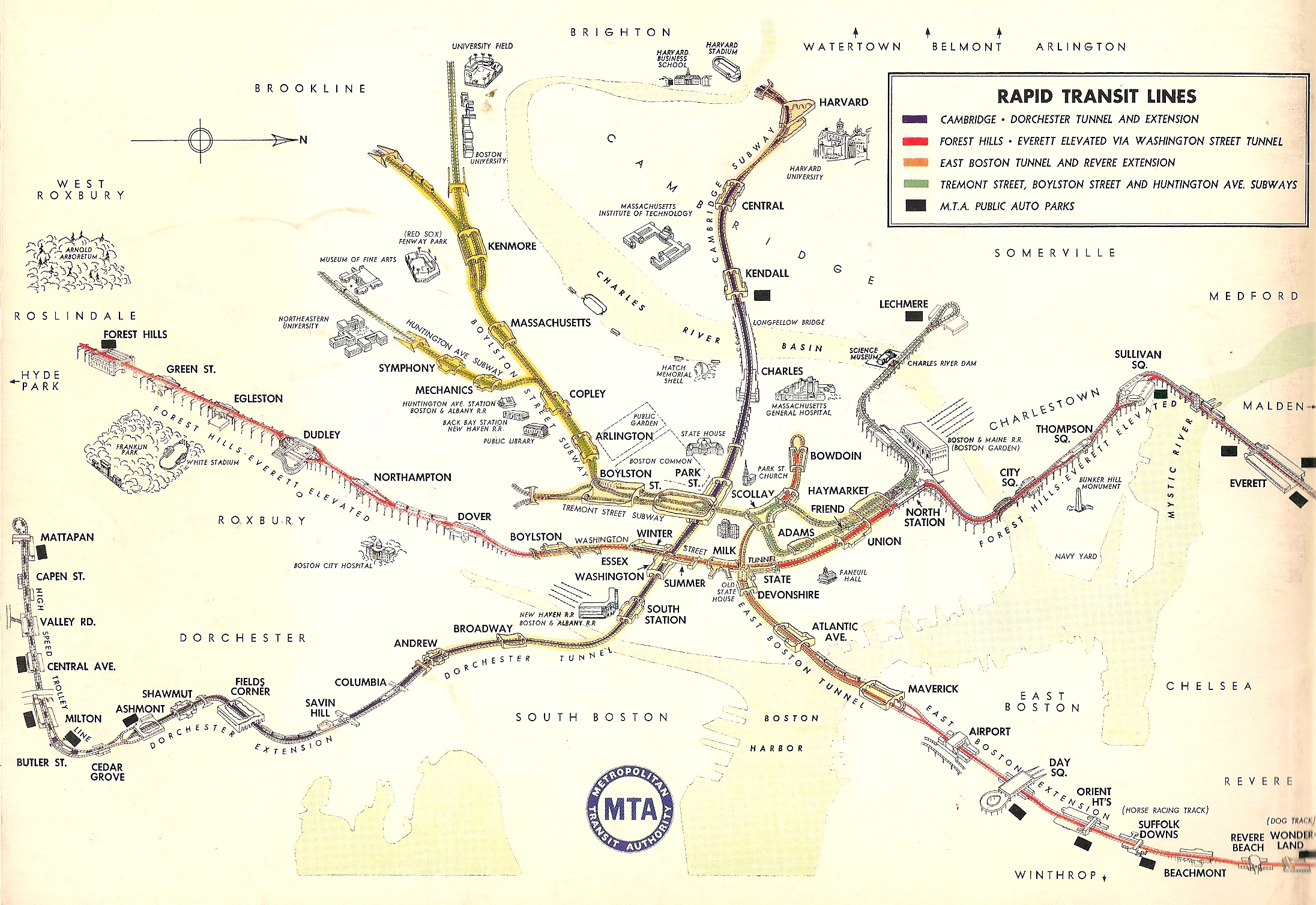 Boston MBTA System Track Map: A Complete and Geographically Accurate ...