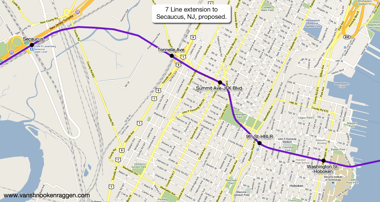 7 Train Extension Map The futureNYCSubway: 7 Extension to Secaucus – vanshnookenraggen 7 Train Extension Map