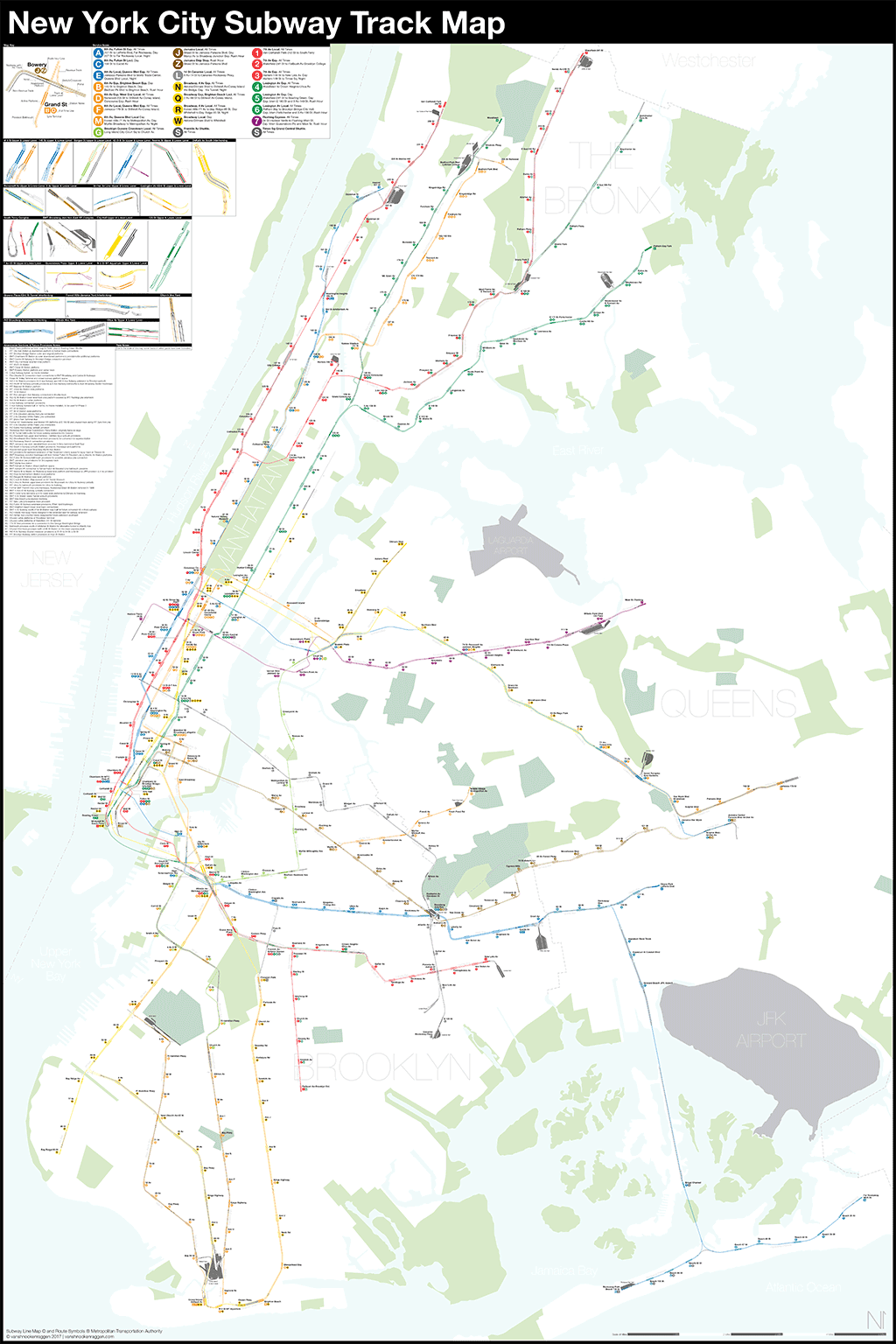 Subway Map For New York City.A Complete And Geographically Accurate Nyc Subway Track Map
