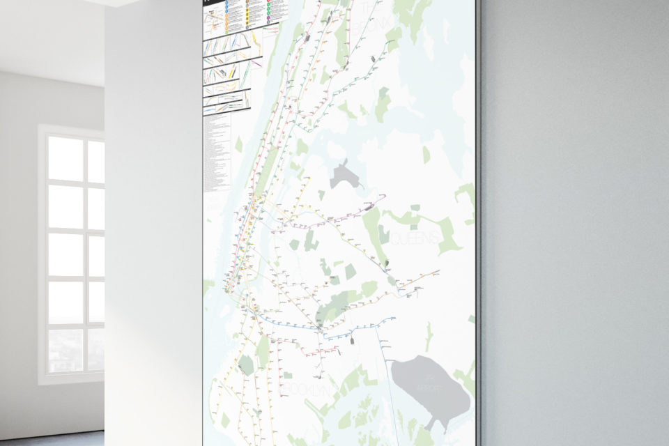 Nyc Subway Map 2017 Poster.A Complete And Geographically Accurate Nyc Subway Track Map