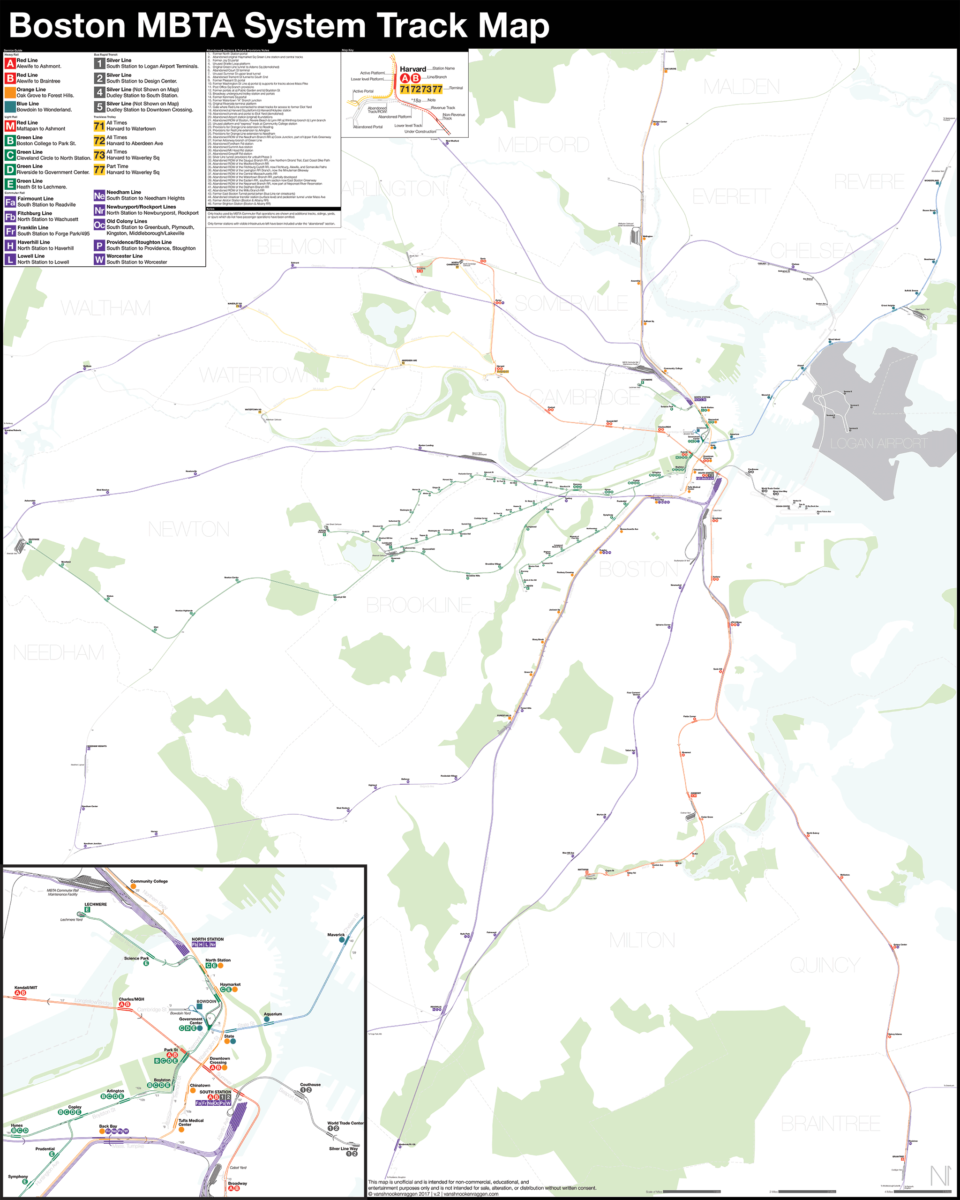 Boston Subway Map To Geography.Boston Mbta System Track Map A Complete And Geographically Accurate